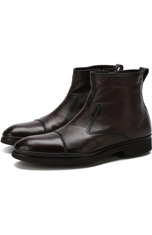 Купить Высокие кожаные ботинки на молнии с внутренней меховой отделкой Aldo Brue, AB853DP-CM3, Италия, Коричневый, Подкладка-Мех натуральный: 95%; Подкладка-Кожа: 5%; Подошва-Резина: 100%; Кожа: 100%;