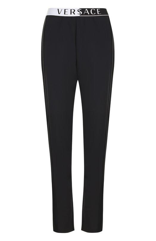 Купить Однотонные брюки с эластичным поясом Versace, AUD15001/AP00190, Италия, Черный, Полиэстер: 74%; Полиамид: 15%; Эластан: 11%;