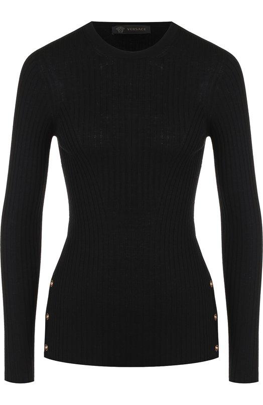 Купить Шерстяной пуловер с круглым вырезом и контрастными пуговицами Versace, A80652/A226328, Италия, Черный, Шерсть: 100%;