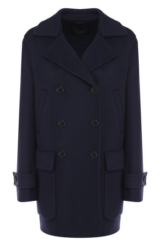 Купить Однотонное кашемировое пальто с накладными карманами Loro Piana, FAI1799, Италия, Синий, Кашемир: 100%;