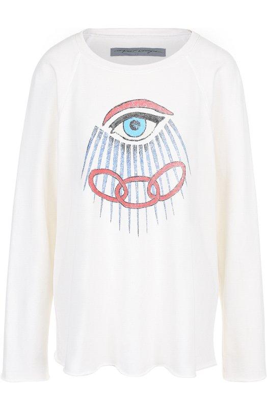 Купить Хлопковый пуловер с круглым вырезом и принтом Raquel Allegra, Z82-3692, США, Белый, Хлопок: 100%;