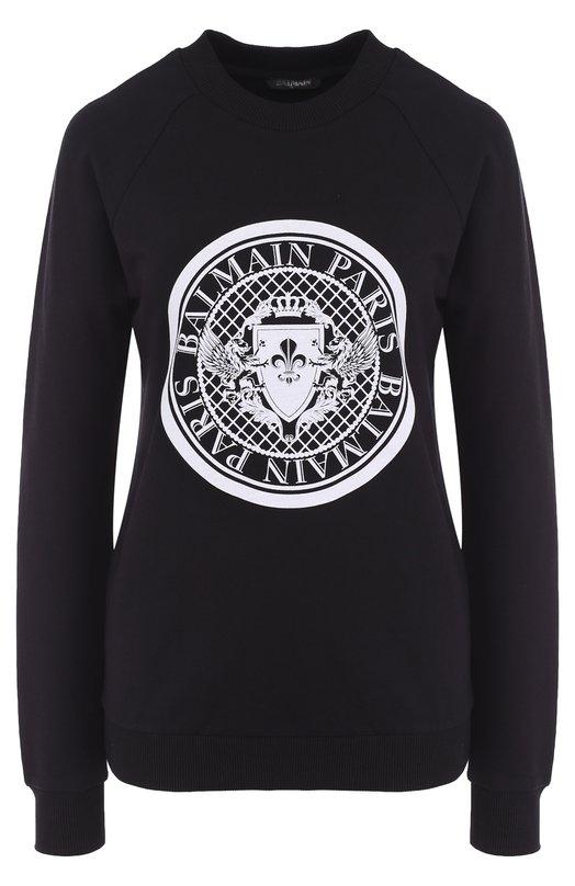 Купить Хлопковый пуловер с круглым вырезом и логотипом бренда Balmain, 136902/744I, Португалия, Черно-белый, Хлопок: 100%;