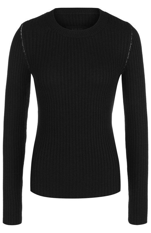 Купить Однотонный пуловер с круглым вырезом Mm6, S52HA0110/S16412, Италия, Черный, Шерсть: 50%; Акрил: 50%;