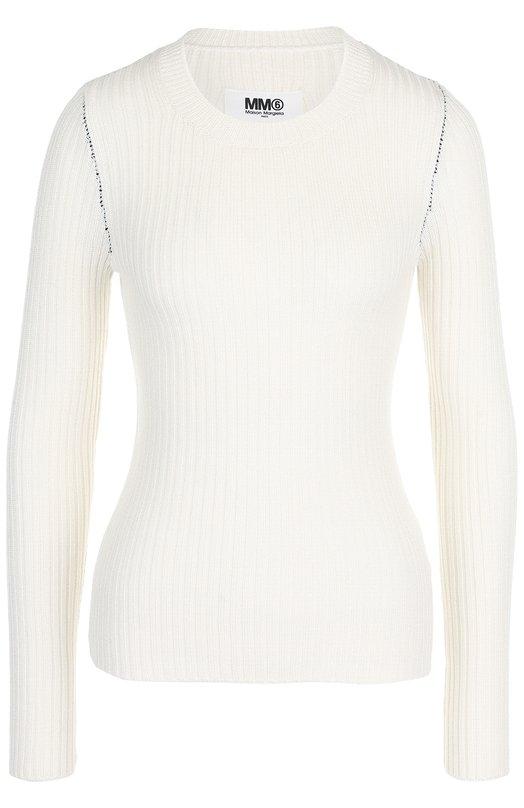 Купить Однотонный пуловер с круглым вырезом Mm6, S52HA0110/S16412, Италия, Белый, Шерсть: 50%; Акрил: 50%;