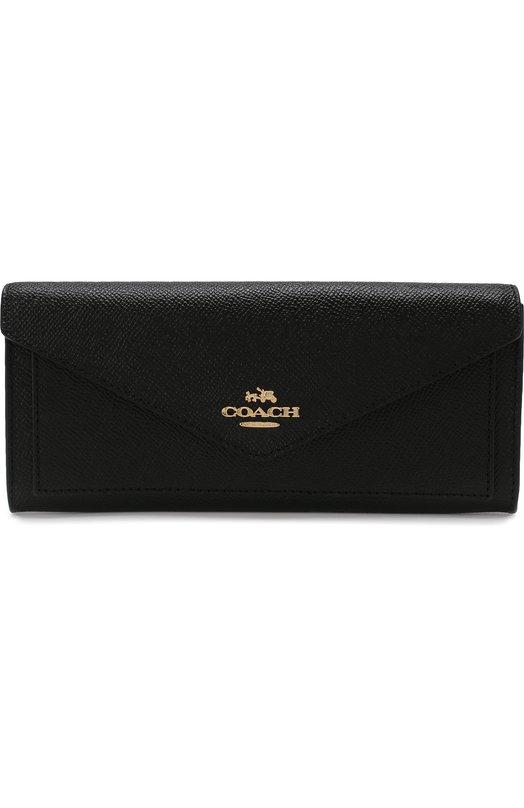 Купить Кожаный кошелек с клапаном Coach, 57715, Вьетнам, Черный, Полимер: 100%; Кожа: 100%;