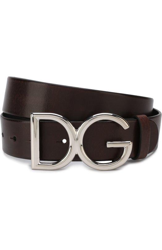 Купить Кожаный ремень с фигурной пряжкой Dolce & Gabbana, BC4245/AI894, Италия, Темно-коричневый, Кожа: 100%;