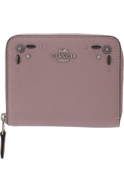Купить Кожаный кошелек на молнии с декоративной отделкой Coach, 29689, Вьетнам, Лиловый, Кожа натуральная: 100%;