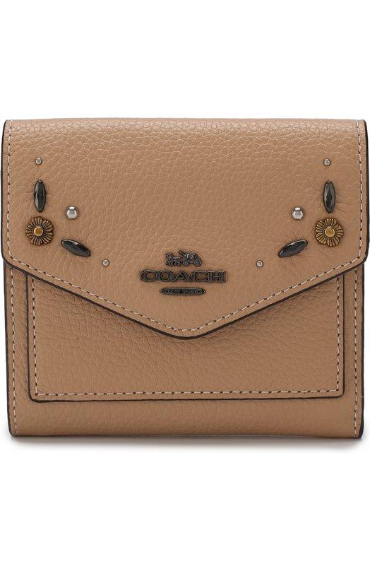 Кожаный кошелек с декоративной отделкой Coach, 29971, Филиппины, Бежевый, Кожа натуральная: 100%;  - купить