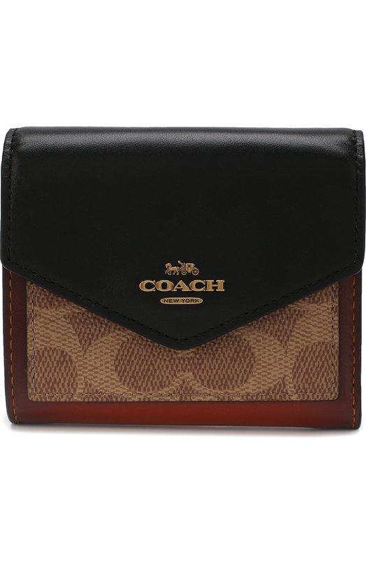 Кошелек с принтом Coach, 32610, Вьетнам, Коричневый, Поливинилхлорид: 75%; Текстиль: 25%;  - купить