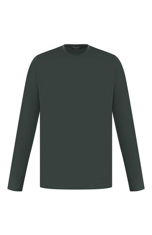 Купить Футболка с длинными рукавами из смеси шелка и хлопка Loro Piana, FAF6129, Италия, Темно-зеленый, Шелк: 60%; Хлопок: 40%;