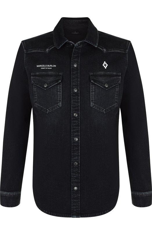 Джинсовая рубашка с принтом Marcelo Burlon, CMYD002E188700981020, Италия, Черный, Хлопок: 92%; Эластан: 8%;  - купить