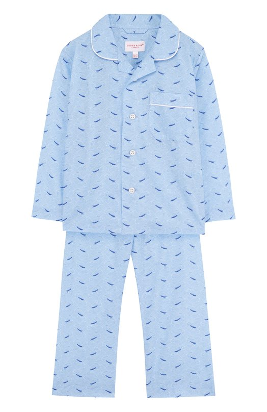 Купить Хлопковая пижама Derek Rose, 7025-LEDB012/3-12, Чехия, Голубой, Хлопок: 100%;