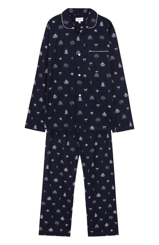 Хлопковая пижама Derek Rose, 7025-NELS065/13-16, Чехия, Темно-синий, Хлопок: 100%;  - купить
