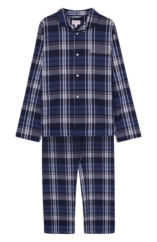 Купить Хлопковая пижама Derek Rose, 7025-RANG031/13-16, Чехия, Темно-синий, Хлопок: 100%;