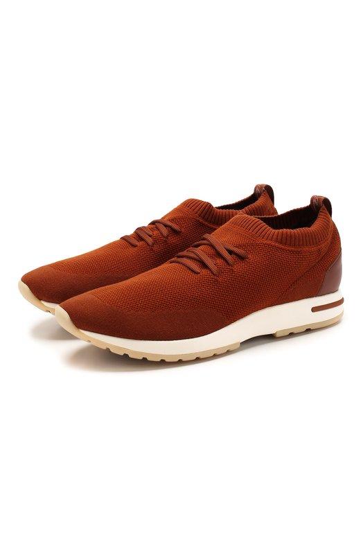Купить Текстильные кроссовки на шнуровке Loro Piana, FAI1540, Италия, Красный, Текстиль: 80%; Кожа: 20%; Подкладка-кожа: 100%; Стелька-кожа: 100%; Подошва-резина: 100%;