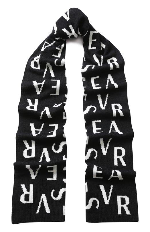 Шерстяной шарф с принтом Versace, ISC3003/IT02644, Сербия, Черный, Шерсть: 100%;  - купить