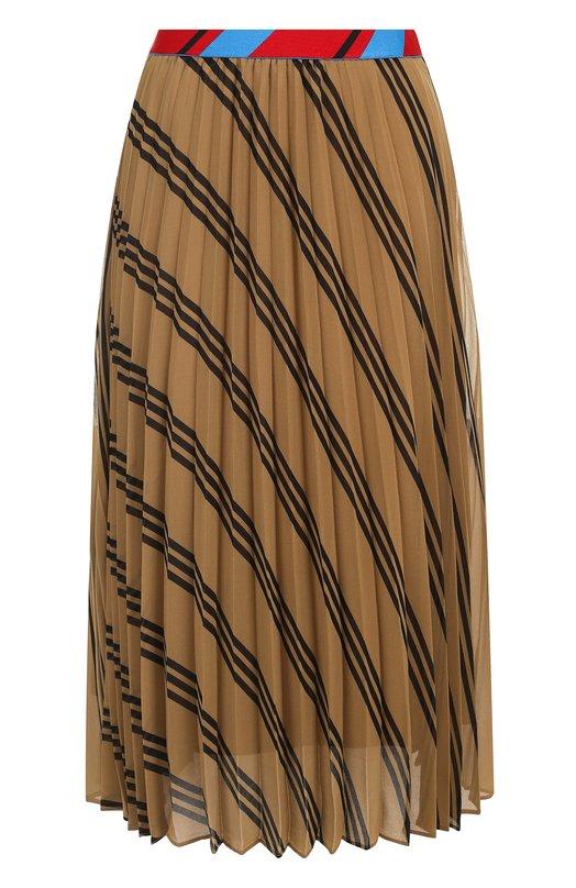 Купить Плиссированная юбка-миди с эластичным поясом и принтом By Malene Birger, Q65364003/ALLYHE, Китай, Бежевый, Полиэстер: 100%;