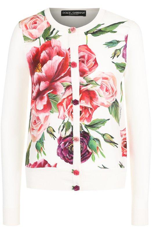 Шелковый кардиган с принтом и декоративными пуговицами Dolce & Gabbana, FX180T/JASEA, Италия, Разноцветный, Шелк: 100%;  - купить