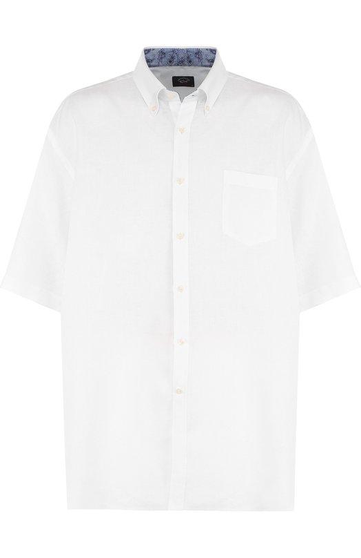 Купить Льняная рубашка с короткими рукавами Paul&Shark, E18P3153/48-50, Италия, Белый, Лен: 100%;