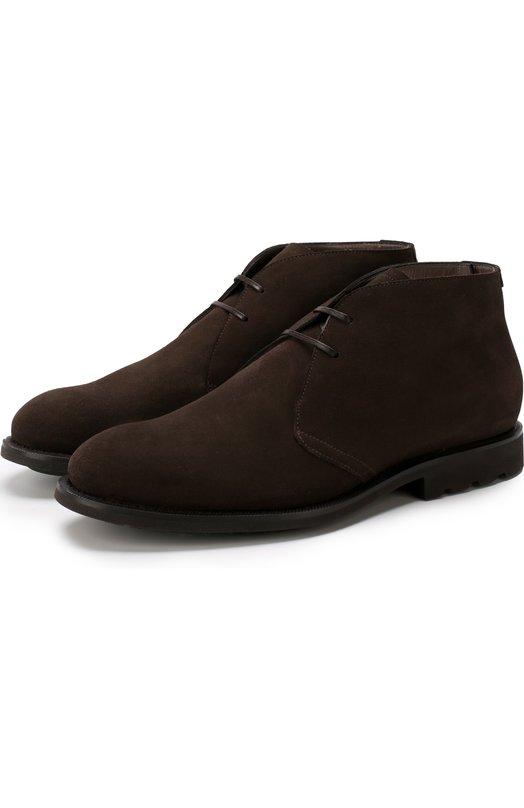 Купить Замшевые ботинки на шнуровке с внутренней меховой отделкой Barrett, 142U025.18/CARDIF/FUR, Италия, Коричневый, Подошва-резина: 100%; Подкладка-мех/овчина/: 100%; Кожа: 100%;