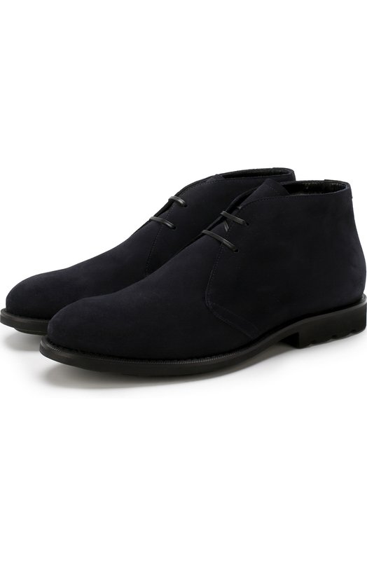 Купить Замшевые ботинки на шнуровке с внутренней меховой отделкой Barrett, 142U025.19/CARDIF/FUR, Италия, Темно-синий, Подошва-резина: 100%; Подкладка-мех/овчина/: 100%; Кожа: 100%;