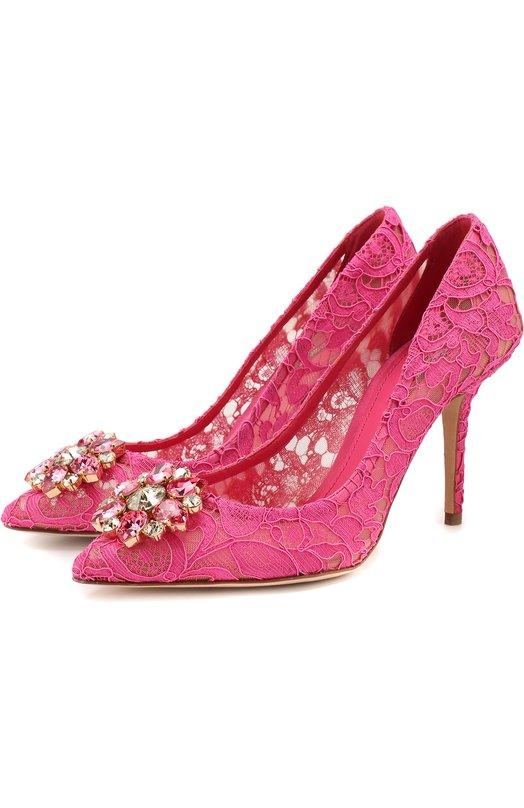 Кружевные туфли Rainbow Lace с брошью Dolce & Gabbana Dolce & Gabbana