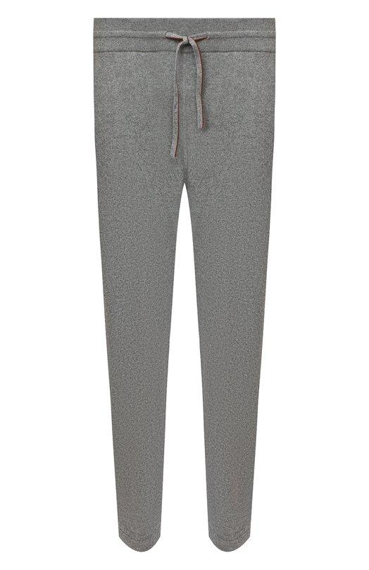 Кашемировые брюки прямого кроя с поясом на кулиске Loro Piana, FAG4527, Италия, Серый, Кашемир: 100%;  - купить
