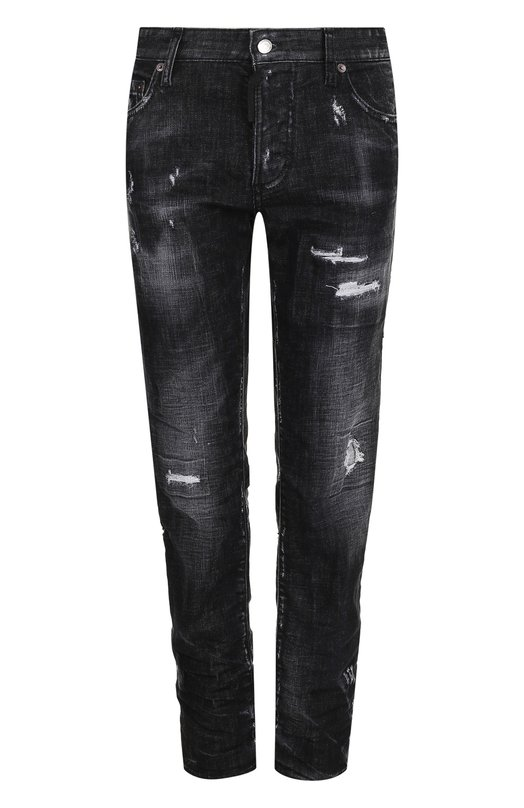 Купить Укороченные джинсы с потертостями Dsquared2, S75LB0061/S30357, Италия, Черный, Хлопок: 98%; Эластан: 2%;