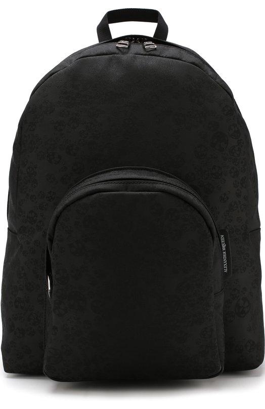 Купить Однотонный рюкзак с внешним карманом на молнии Alexander McQueen, 497169/9R41N, Италия, Черный, Полиамид: 100%;