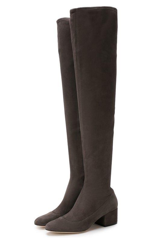 Купить Замшевые ботфорты на низком каблуке Sergio Rossi, A75292-MAF714, Италия, Серый, Подошва-кожа: 100%; Подкладка-кожа: 100%; Замша: 100%;