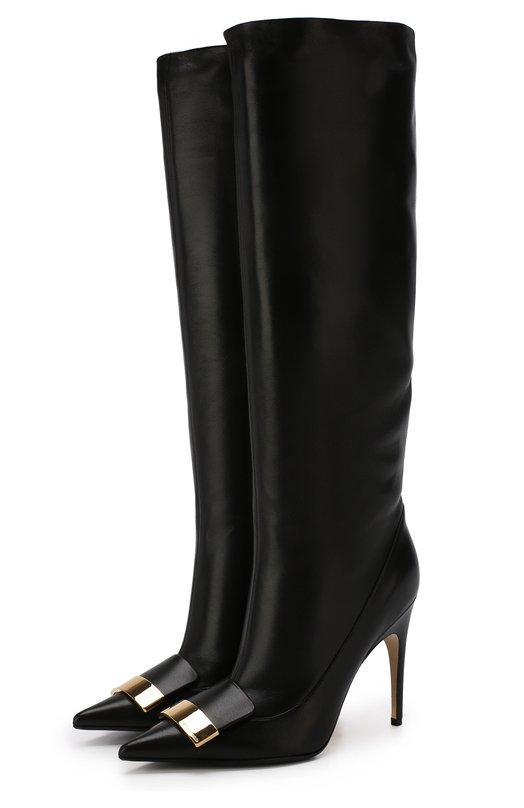 Купить Кожаные сапоги на шпильке Sergio Rossi, A82021-MNAN07, Италия, Черный, Подошва-резина: 70%; Подошва-кожа: 30%; Подкладка-кожа: 100%; Кожа: 100%;