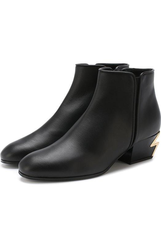 Купить Кожаные ботильоны на фигурном каблуке Giuseppe Zanotti Design, I870009/004, Италия, Черный, Подошва-кожа: 100%; Подкладка-кожа: 100%; Кожа: 100%;