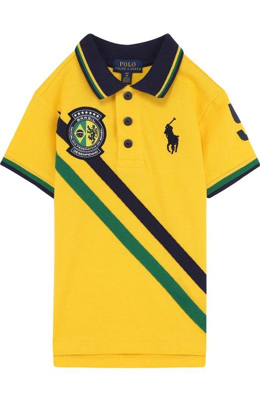Купить Хлопковое поло с логотипом сборной Бразилии Polo Ralph Lauren, 323716417, Гватемала, Желтый, Хлопок: 100%;