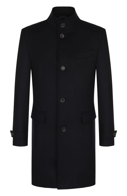 Купить Однобортное пальто из смеси шерсти и кашемира с воротником-стойкой BOSS, 50394076, Польша, Темно-синий, Шерсть: 90%; Кашемир 10%;