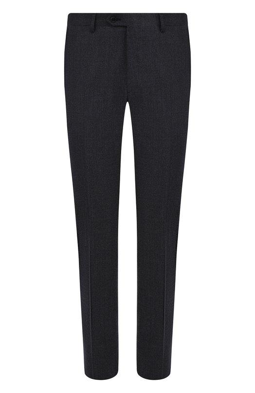 Купить Шерстяные брюки прямого кроя Brioni, RPL80L/07AB6/MEGEVE, Италия, Темно-синий, Шерсть: 100%;