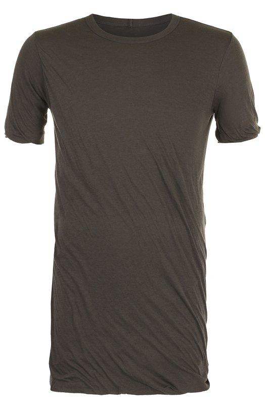 Купить Удлиненная хлопковая футболка Rick Owens, RU18F1256/UC, Италия, Темно-серый, Хлопок: 100%;