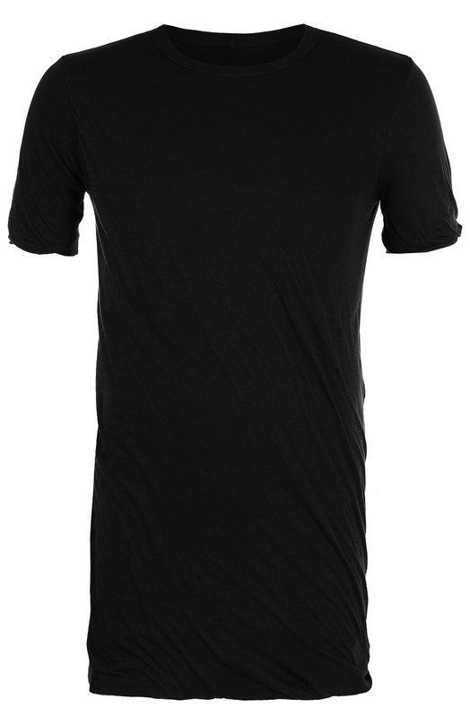 Купить Удлиненная хлопковая футболка Rick Owens, RU18F1256/UC, Италия, Черный, Хлопок: 100%;