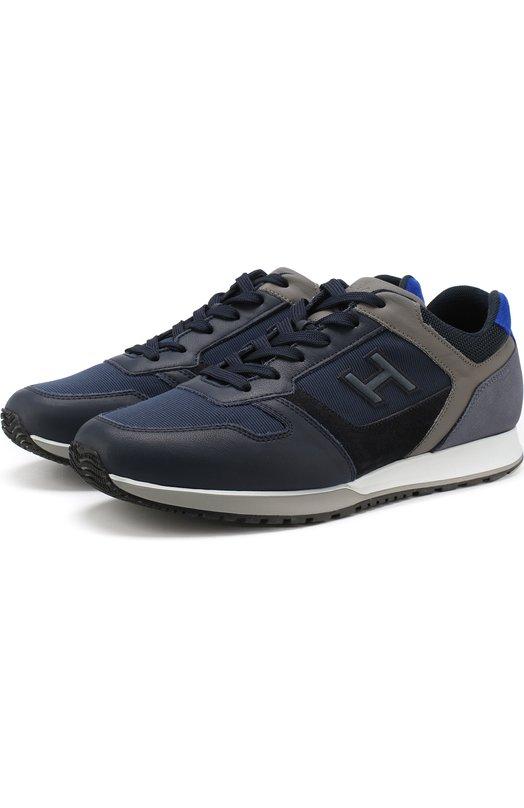 Купить Комбинированные кроссовки на шнуровке Hogan, HXM3210Y860JBV, Италия, Темно-синий, Кожа: 60%; Текстиль: 40%; Подкладка-кожа: 100%; Подкладка-текстиль: 100%; Подошва-резина: 100%;