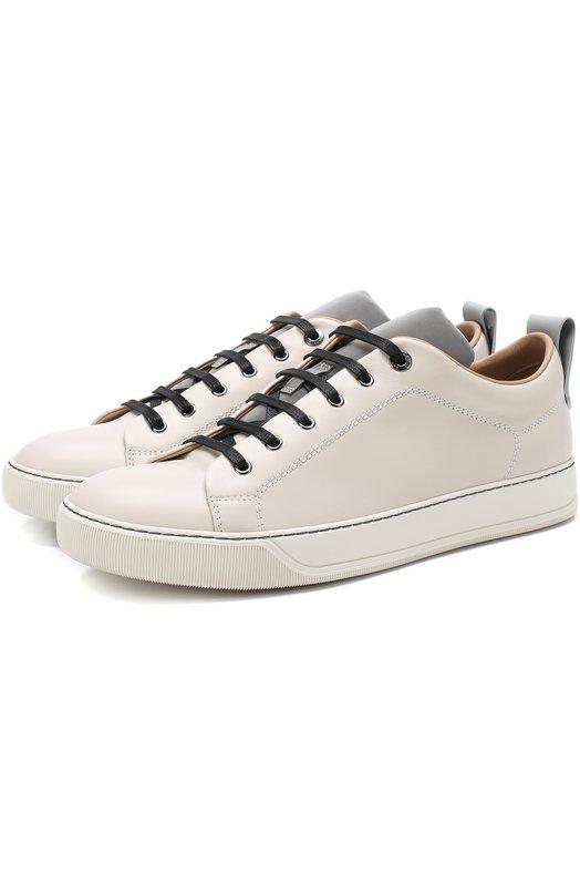 Купить Кожаные кеды на шнуровке Lanvin, FM-SKDBN5-VNAP-A18, Португалия, Светло-серый, Подошва-резина: 100%; Подкладка-кожа: 100%; Кожа: 100%;