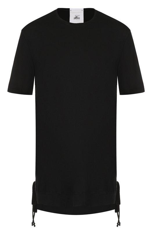 Купить Удлиненная хлопковая футболка Lost&Found, M23.550.155R, Италия, Черный, Хлопок: 100%;