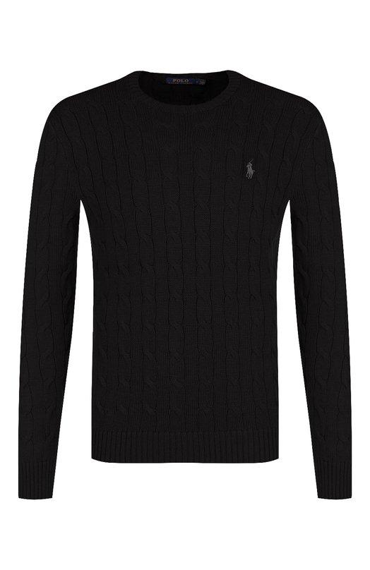 Купить Однотонный свитер фактурной вязки Polo Ralph Lauren, 710702613, Китай, Черный, Хлопок: 100%;