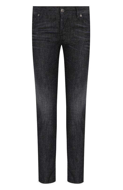 Купить Укороченные джинсы с потертостями Dsquared2, S75LB0058/S30357, Италия, Черный, Хлопок: 98%; Эластан: 2%;