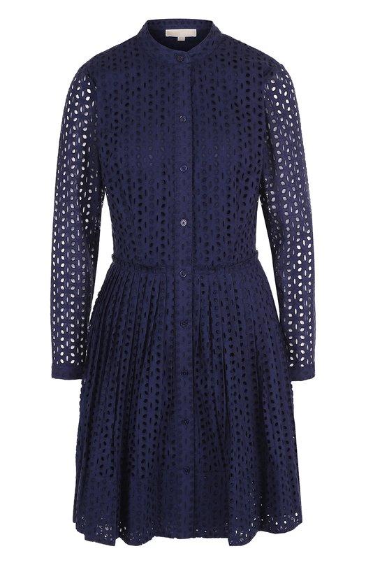 Купить Приталенное мини-платье из хлопка MICHAEL Michael Kors, MS88X2Y6PN, Китай, Синий, Хлопок: 100%;