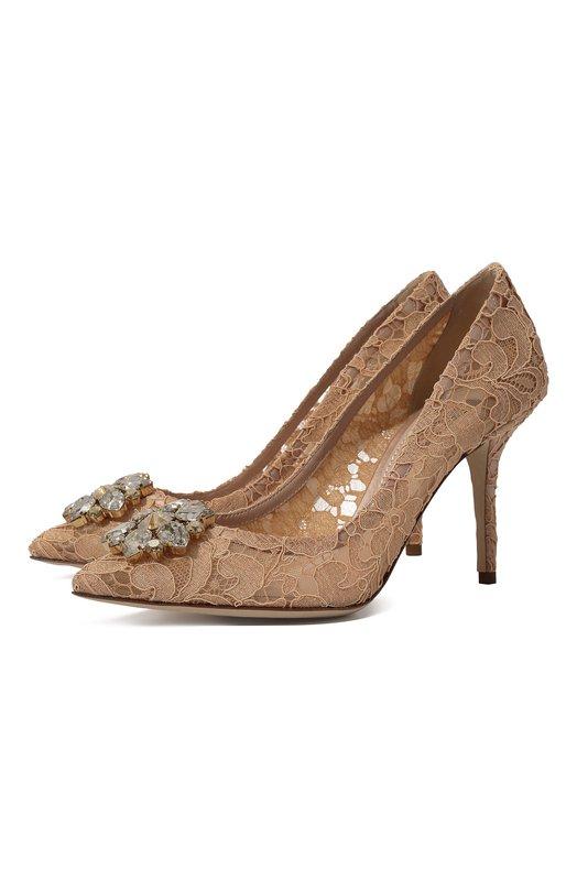 Купить Кружевные туфли Rainbow Lace с брошью Dolce & Gabbana, CD0101/AL198, Италия, Светло-бежевый, Вискоза: 57%; Полиамид: 5%; Подкладка-кожа: 40%; Хлопок: 36%; Подкладка-полиамид: 25%; Подкладка-вискоза: 24%; Шелк: 2%; Подкладка-шелк: 11%
