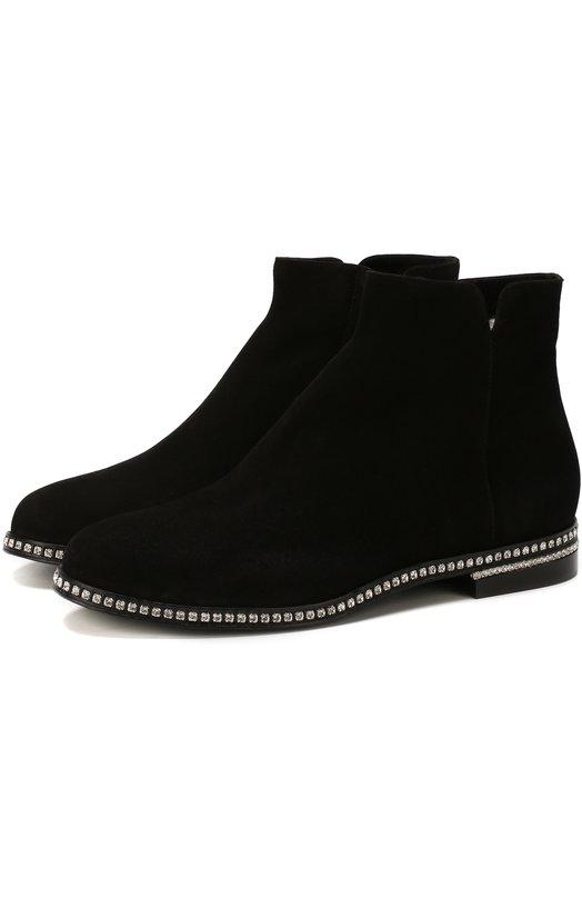 Купить Замшевые ботинки с внутренней отделкой из меха кролика Le Silla, 6201M020M1LLP0W, Италия, Черный, Подошва-кожа: 50%; Подошва-резина: 50%; Подкладка-мех/кролик/: 100%; Кожа: 100%;