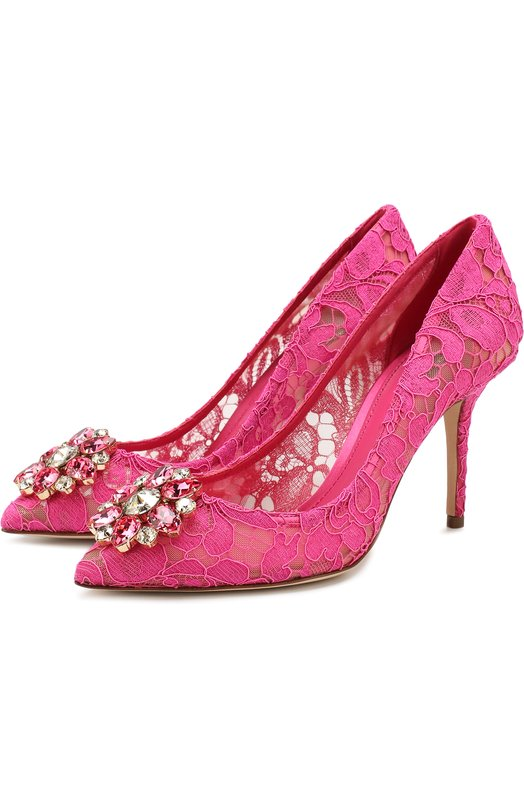 Купить Кружевные туфли Rainbow Lace с брошью Dolce & Gabbana, CD0101/AL198, Италия, Фуксия, Вискоза: 57%; Полиамид: 5%; Подкладка-кожа: 40%; Хлопок: 36%; Подкладка-полиамид: 25%; Подкладка-вискоза: 24%; Шелк: 2%; Подкладка-шелк: 11%