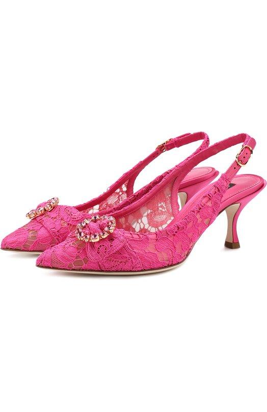 Купить Туфли Lori с декорированной пряжкой на каблуке kitten heel Dolce & Gabbana, CG0270/AU545, Италия, Фуксия, Подкладка-шелк: 6%; Вискоза: 55%; Подкладка-кожа: 54%; Полиамид: 5%; Хлопок: 38%; Подкладка-полиамид: 27%; Кожа: 2%; Подкладка-вискоза: 13%;