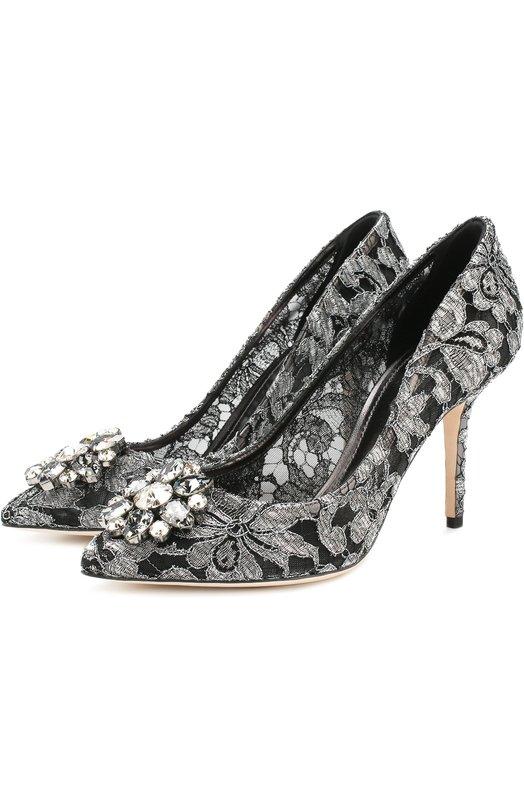 Купить Кружевные туфли Rainbow Lace с брошью Dolce & Gabbana, CD0101/AE637, Италия, Серебряный, Подкладка-кожа: 61%; Полиамид: 52%; Подкладка-полиамид: 39%; Кожа: 38%; Подошва-кожа: 100%; Полиэстер: 10%;