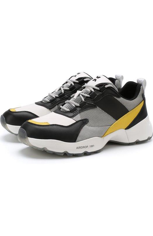 Купить Комбинированные кроссовки на шнуровке O.X.S., 9S4006U.R50CMUB370, Китай, Разноцветный, Текстиль: 75%; Кожа: 25%; Подошва-резина: 100%; Подкладка-текстиль: 100%;