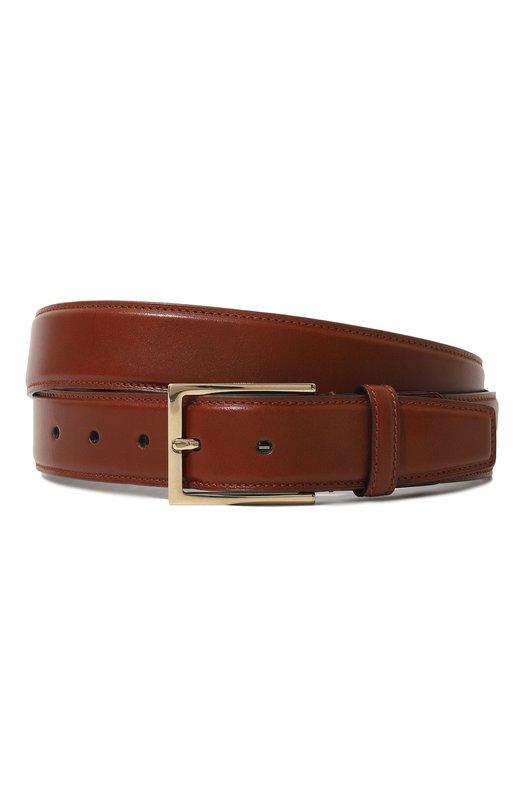 Купить Кожаный ремень с металлической пряжкой Brioni, 0BZG0L/07702, Италия, Светло-коричневый, Кожа: 100%;